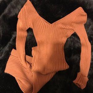 Caramel Ribbed Knit Long Sleeves Dress
